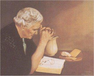 Gratitude old woman praying l