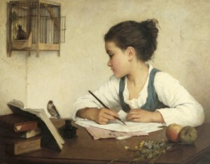 Young Girl Writing at her Desk with Birds--Henriette Browne (1829-1901)[3]