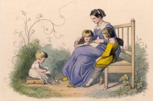 victorian-engraving-mother-with-children