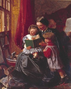 Mother and Children Reading circa 1860 by Arthur Boyd Houghton 1836-1875