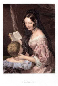 Vintage engraving of a Victorian mother reading to her young child